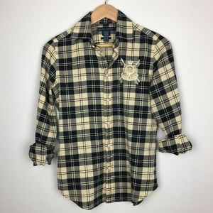 Ralph Lauren Plaid Top with Embellished Crest Sz 8